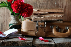 Old book leather suitcase Stock Image