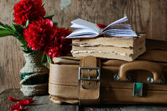 Old book leather suitcase Stock Images