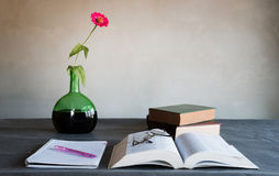 Old book and Note pad still life Royalty Free Stock Images
