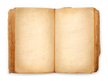 Old book open blank pages, empty yellow paper Royalty Free Stock Photos