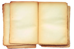 Old book open on both blank pages. Old book open on both blank shabby pages Royalty Free Stock Photos