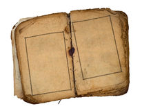 Old book open on both blank pages. Old book open on both blank shabby pages with frames Royalty Free Stock Images