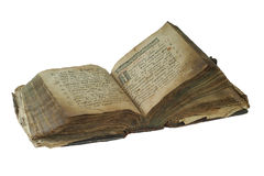 Old book open isolated on white background with clipping path Royalty Free Stock Photo