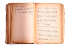 Old book. Old open persian book isolated on white background Royalty Free Stock Photography