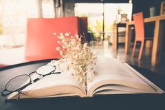 Old book open on table with reading glasses and classic flower. Old book open on table with reading glasses and classic flower royalty free stock photography