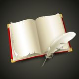 Old book and pen. Vector illustration Stock Photos