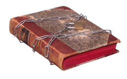 Old book protected with chain and padlock Stock Photo