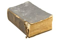 Old Book - Psalms. Very old worn book printed in 1897 on white background stock photography