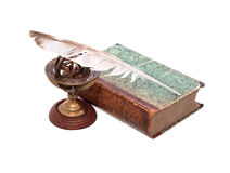 Old Book And Quill Pen Stock Photography