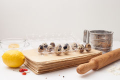Old book of recipes, quail eggs, dry red pepper, rolling pin, fl Stock Images