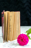 Old book with red binding Royalty Free Stock Photos