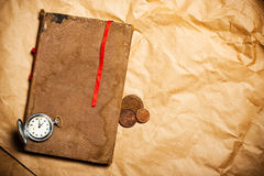 Old book with red bookmark Royalty Free Stock Photos