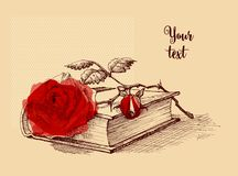 Old book and a rose still life illustration. Diploma, certificate or scrapbook decoration Royalty Free Stock Image