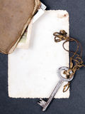 Old book, rusty key and empty photograph Stock Photography