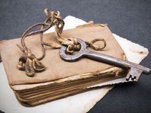 Old book, rusty key and empty photograph Royalty Free Stock Images