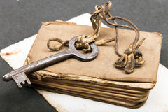 Old book, rusty key and empty photograph Stock Images