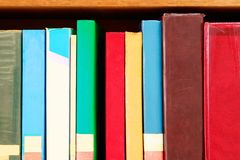 Old book in school library bookshelf education learning concept with copy space. Add text stock image