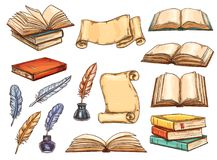 Old book, scroll and vintage feather pen sketch royalty free illustration