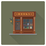 Old book store building flat design vector illustration Royalty Free Stock Photos