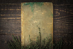 Old book with thyme on the wooden table top view Stock Photos