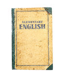 Old Book. Very old English textbook on white background Royalty Free Stock Image