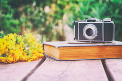 old book, vintage photo camera next to field flowers Royalty Free Stock Photo