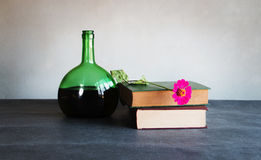 Old book and wine still life Royalty Free Stock Photography