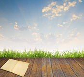 Old book on wood floor with green grass. And blue sky Royalty Free Stock Photos