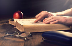 Old book on the wooden boards. Retouching Vintage, selective foc Stock Photography
