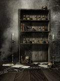 Old bookcase with magic potions Royalty Free Stock Images