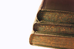 Old Books. Three old books stacked with white background Royalty Free Stock Images