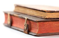 Old books. Antique books on white background Royalty Free Stock Images