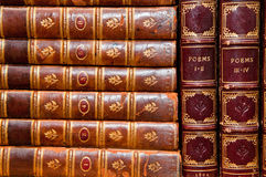 Old Books. Old poetry books, bound in leather Royalty Free Stock Photos