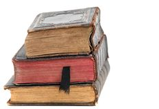 Old books. Stack of old books isolated on white royalty free stock images
