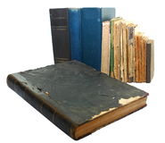 Old books. Old damaged books isolated on a white background Royalty Free Stock Photos