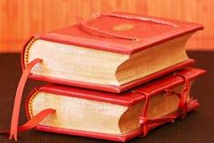 Old books. Still life with dark orange books Stock Photography