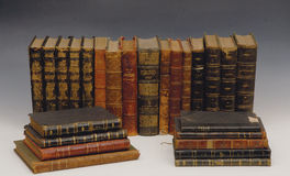 Old books. In library stock photos