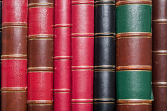 Old Books. Lots Of Old Books (Leather Cover) On A Library Shelf Royalty Free Stock Photography