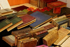 Old books. Different editions of old books and covers various at Antique Market Royalty Free Stock Image