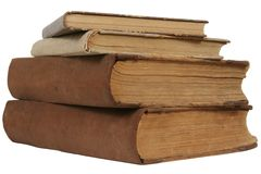 Old books. Four very old books with yellowed papers Royalty Free Stock Photos