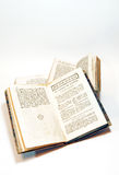 Old books. Open pages of a religious book of the seven hundred Stock Photography