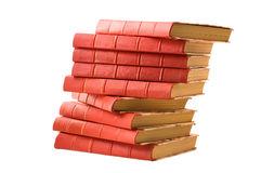 Old books. Old red books on white background royalty free stock image