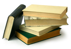 Old books. Stack on a white background isolated by clipping-path Royalty Free Stock Photo
