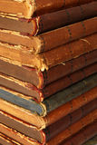 Old books. Closeup of a pile of old books stock photo