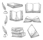 Vector sketch icons of old books and manuscripts. Old books and ancient manuscripts and ink quill or feather pen sketch icons. Obsolete vintage book, antique Stock Photography