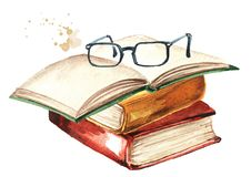 Free Old Books And Glasses. Watercolor Hand Drawn Illustration Isolated On White Background Royalty Free Stock Photography - 164253847