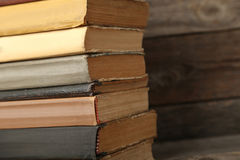 Old books. Old antique books on grey wooden table stock photo