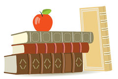 Old books and apple Stock Photo