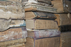 Old books in attic of municipality Stock Photo