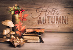 Old books, Autumn decorations on wood, greeting text Stock Image
